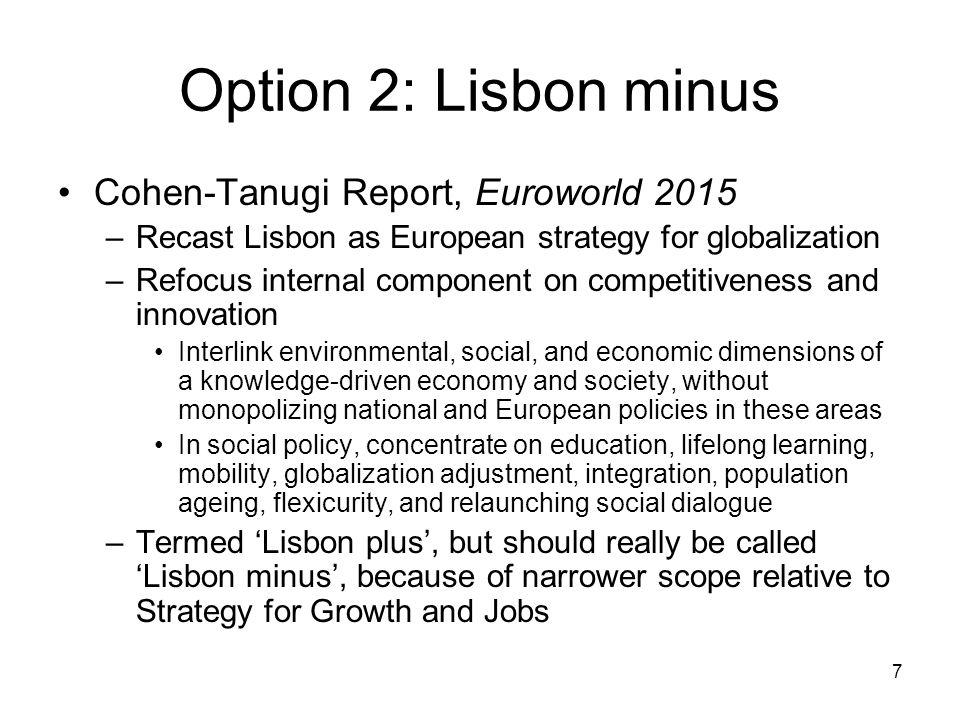 7 Option 2: Lisbon minus Cohen-Tanugi Report, Euroworld 2015 –Recast Lisbon as European strategy for globalization –Refocus internal component on comp