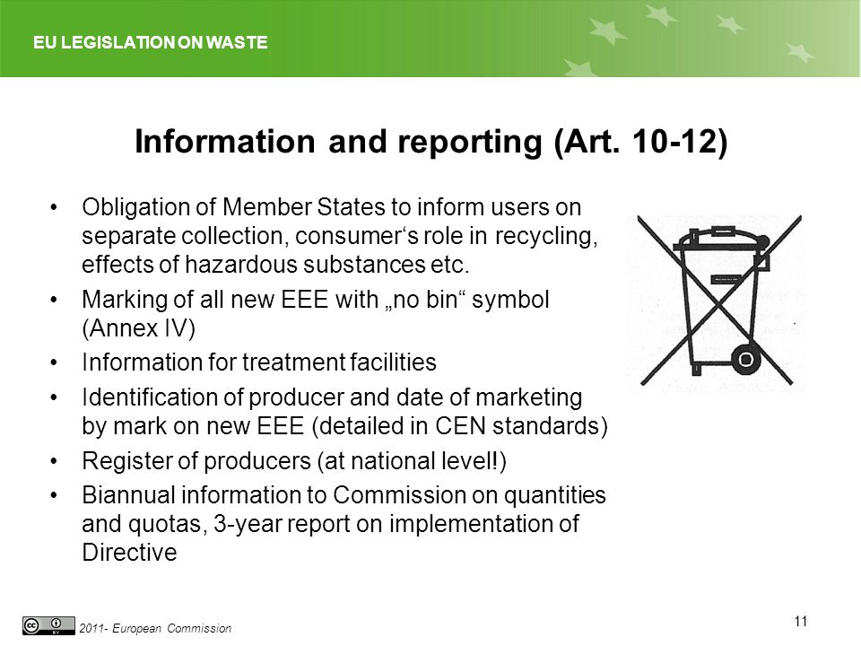 EU LEGISLATION ON WASTE 2011- European Commission Information and reporting (Art.