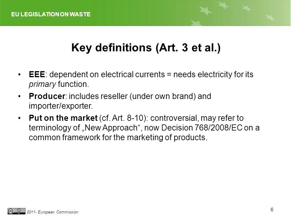 EU LEGISLATION ON WASTE 2011- European Commission Key definitions (Art.