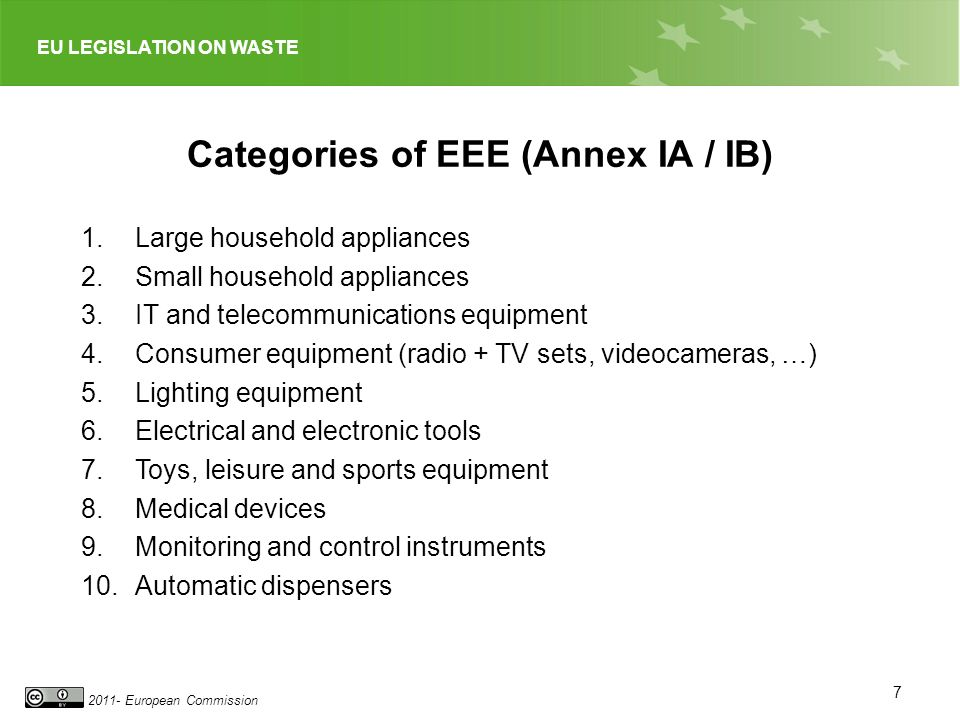 EU LEGISLATION ON WASTE 2011- European Commission Categories of EEE (Annex IA / IB) 1.Large household appliances 2.Small household appliances 3.IT and telecommunications equipment 4.Consumer equipment (radio + TV sets, videocameras, …) 5.Lighting equipment 6.Electrical and electronic tools 7.Toys, leisure and sports equipment 8.Medical devices 9.Monitoring and control instruments 10.Automatic dispensers 7