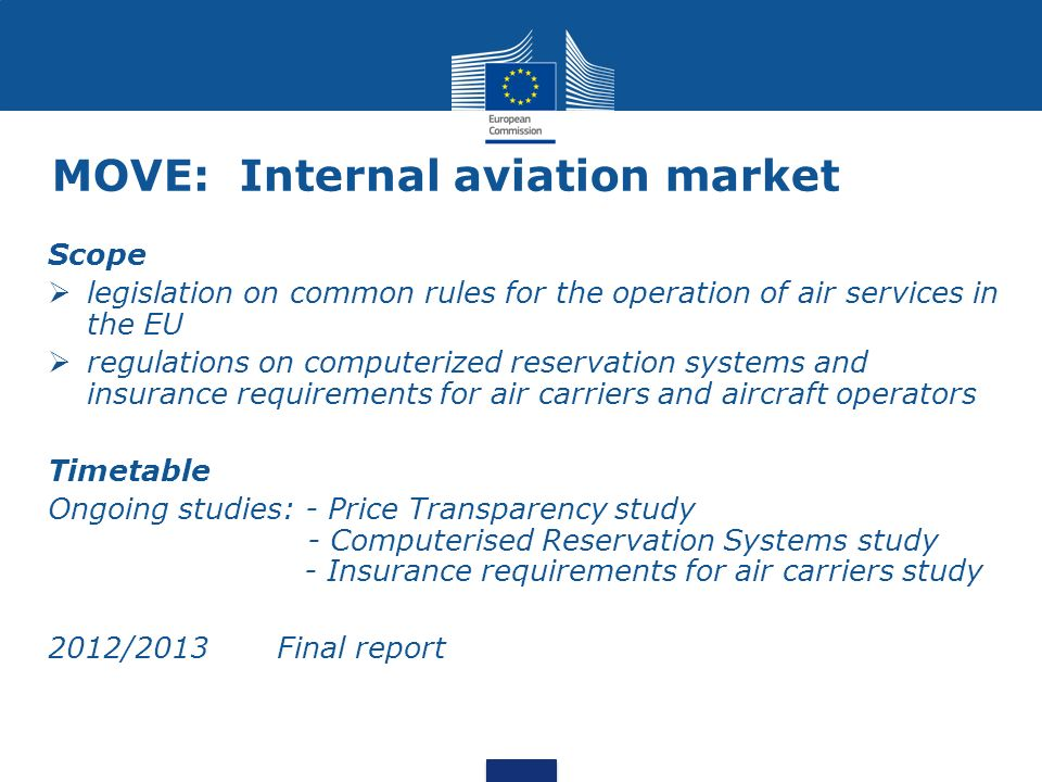 MOVE: Internal aviation market Scope legislation on common rules for the operation of air services in the EU regulations on computerized reservation systems and insurance requirements for air carriers and aircraft operators Timetable Ongoing studies: - Price Transparency study - Computerised Reservation Systems study - Insurance requirements for air carriers study 2012/2013 Final report