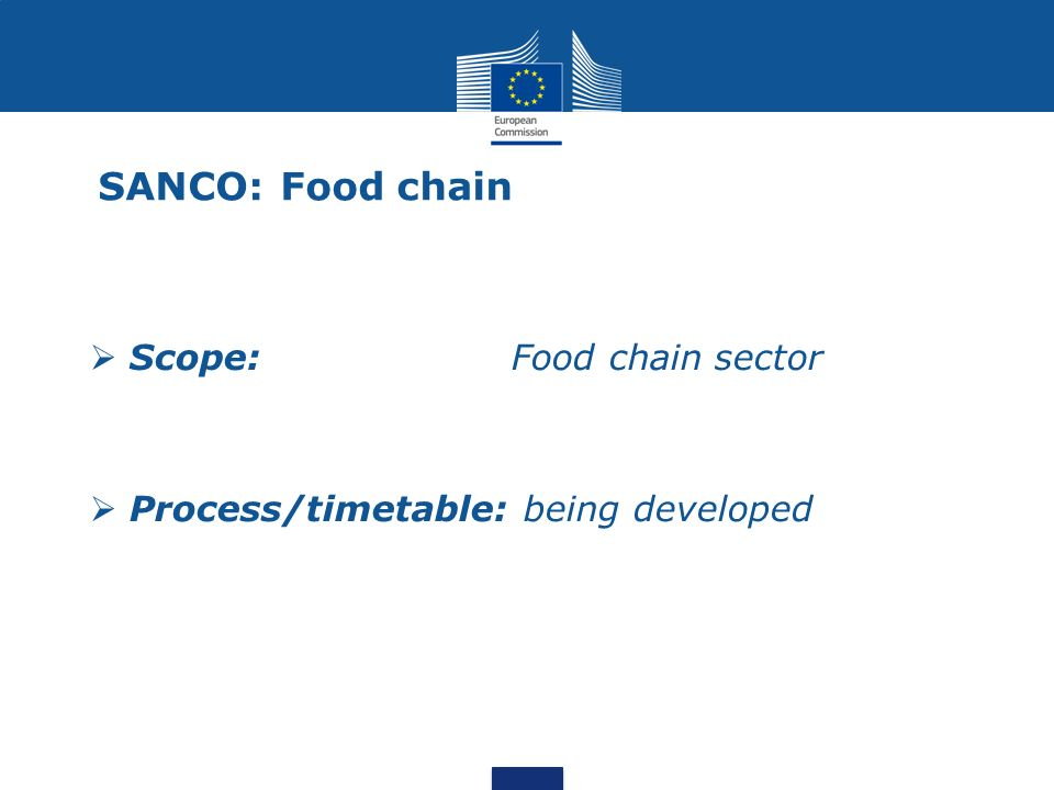 SANCO: Food chain Scope:Food chain sector Process/timetable: being developed