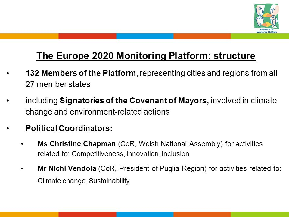 The Europe 2020 Monitoring Platform: structure 132 Members of the Platform, representing cities and regions from all 27 member states including Signat