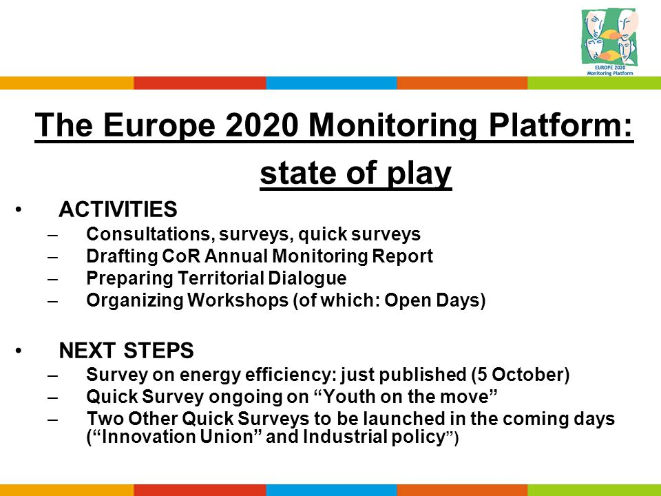 The Europe 2020 Monitoring Platform: state of play ACTIVITIES –Consultations, surveys, quick surveys –Drafting CoR Annual Monitoring Report –Preparing