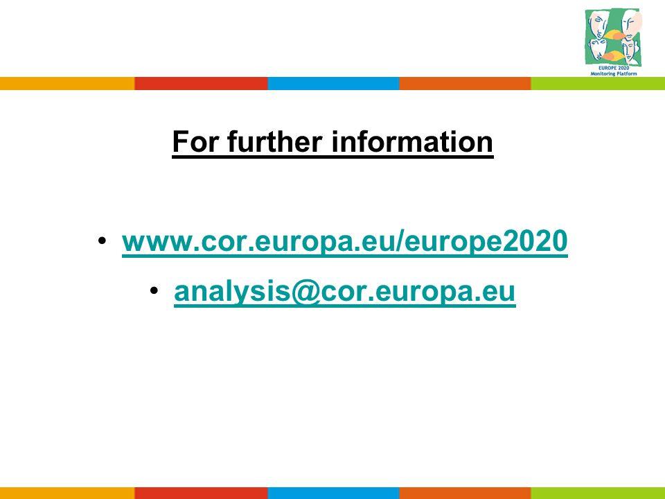 For further information www.cor.europa.eu/europe2020 analysis@cor.europa.eu