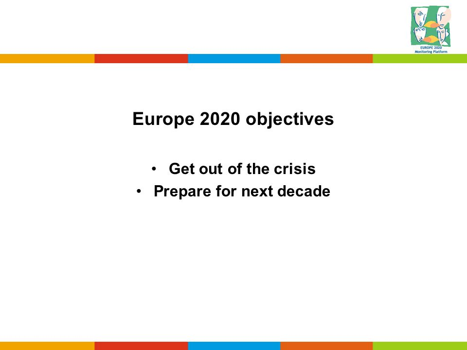 Europe 2020 objectives Get out of the crisis Prepare for next decade