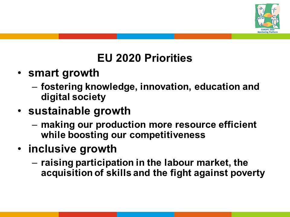 EU 2020 Priorities smart growth –fostering knowledge, innovation, education and digital society sustainable growth –making our production more resourc