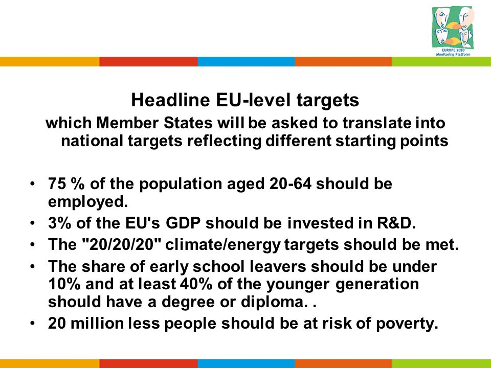 Headline EU-level targets which Member States will be asked to translate into national targets reflecting different starting points 75 % of the popula