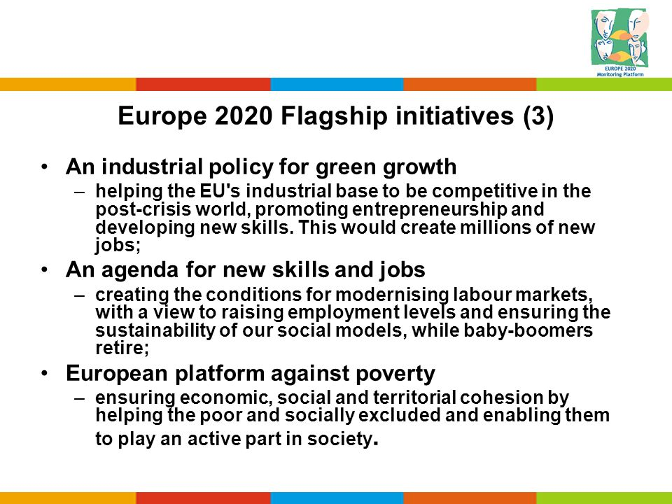 Europe 2020 Flagship initiatives (3) An industrial policy for green growth –helping the EU's industrial base to be competitive in the post-crisis worl