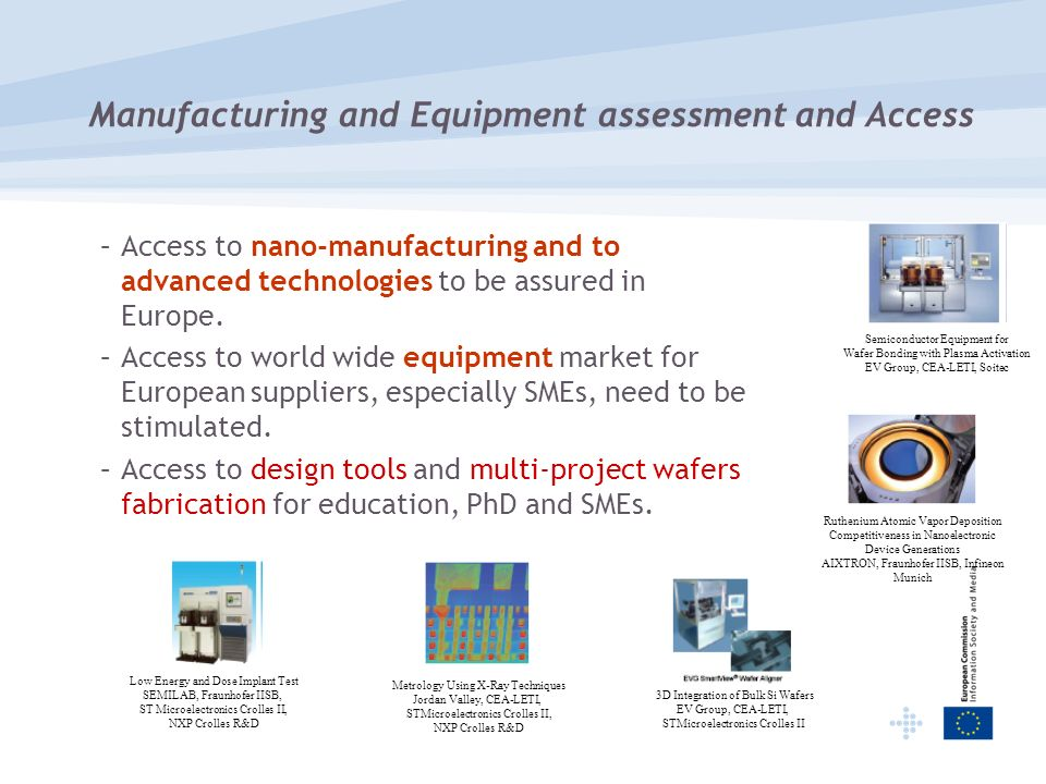 Manufacturing and Equipment assessment and Access –Access to nano-manufacturing and to advanced technologies to be assured in Europe.