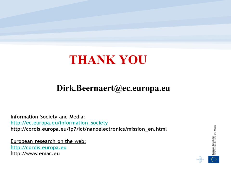 THANK YOU Information Society and Media:     European research on the web: