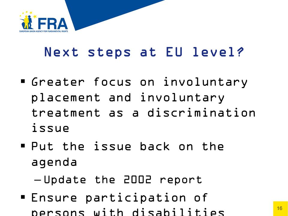 16 Next steps at EU level.
