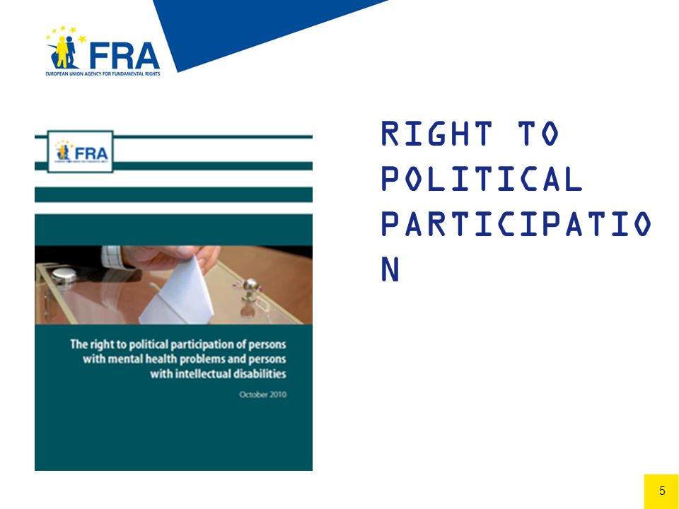 6 6 CRPD Article 29 of the United Nations Convention on the rights of persons with disabilities States Parties shall guarantee to persons with disabilities political rights and the opportunity to enjoy them on an equal basis with others, and shall undertake to: (a) Ensure that persons with disabilities can effectively and fully participate in political and public life...: (iii) Guaranteeing the free expression of the will of persons with disabilities as electors and to this end, where necessary, at their request, allowing assistance in voting by a person of their own choice;