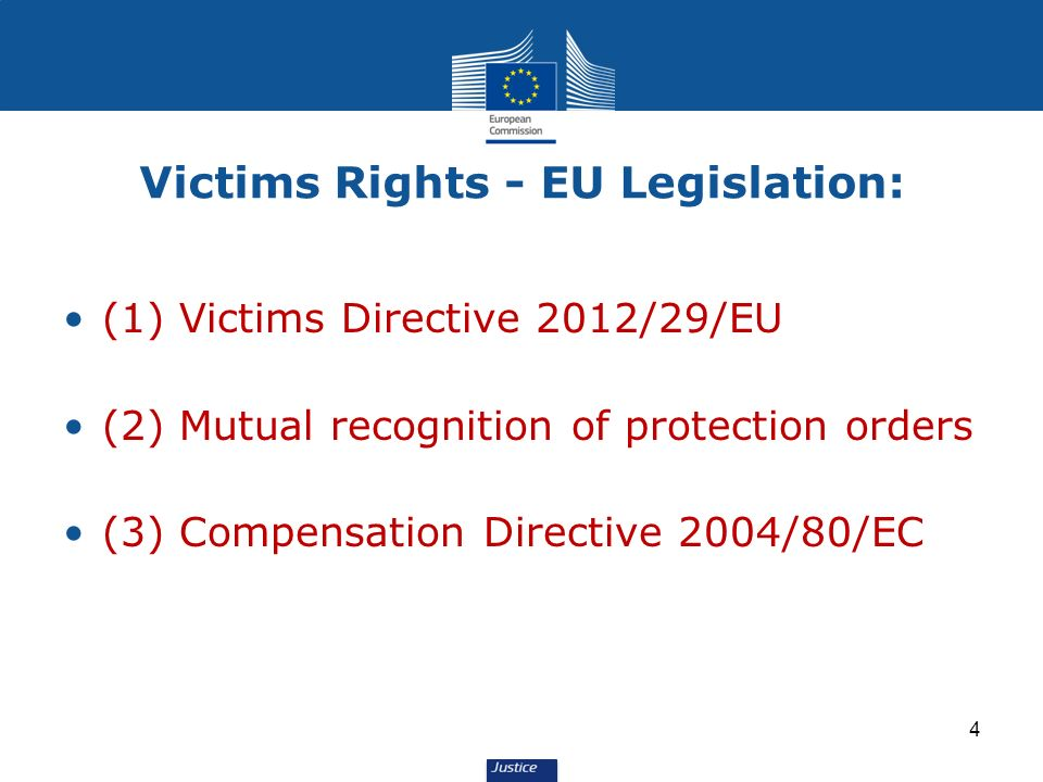 4 Victims Rights - EU Legislation: (1) Victims Directive 2012/29/EU (2) Mutual recognition of protection orders (3) Compensation Directive 2004/80/EC