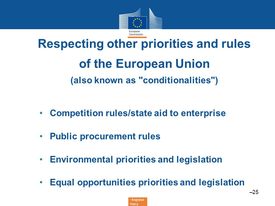 –Regional Policy Competition rules/state aid to enterprise Public procurement rules Environmental priorities and legislation Equal opportunities prior