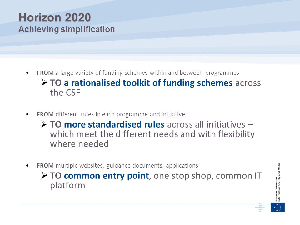 FROM a large variety of funding schemes within and between programmes TO a rationalised toolkit of funding schemes across the CSF FROM different rules