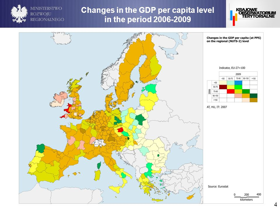 4 Changes in the GDP per capita level in the period 2006-2009