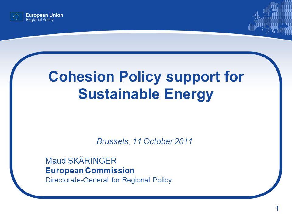 2 Cohesion Policy 2007-2013 Cohesion Policy 07-13 ( 347 billion) European Regional Development Fund (ERDF) Cohesion Fund European Social Fund (ESF) DG REGIO DG EMPLOYMENT