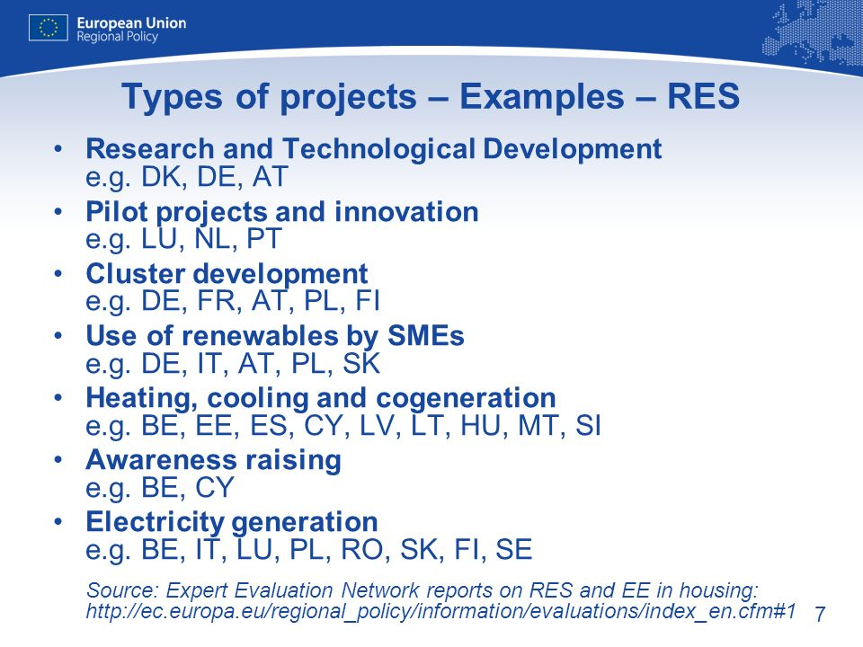 7 Types of projects – Examples – RES Research and Technological Development e.g.