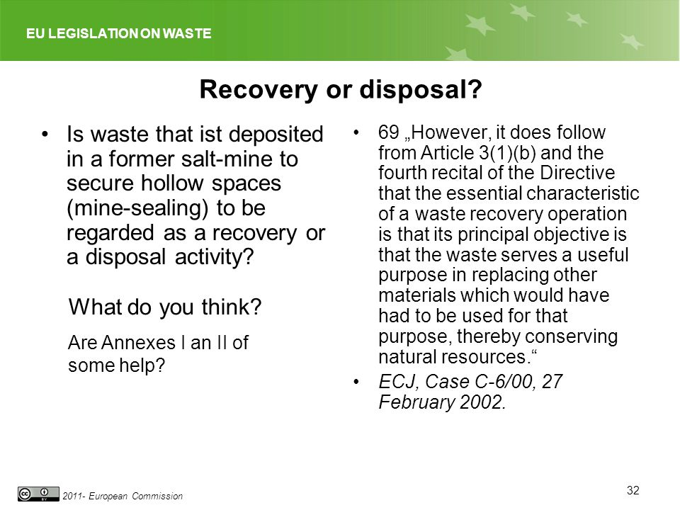 EU LEGISLATION ON WASTE 2011- European Commission Recovery or disposal? Is waste that ist deposited in a former salt-mine to secure hollow spaces (min