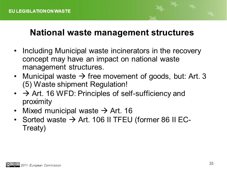 EU LEGISLATION ON WASTE 2011- European Commission National waste management structures Including Municipal waste incinerators in the recovery concept