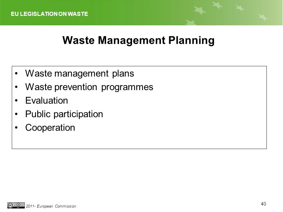 EU LEGISLATION ON WASTE 2011- European Commission Waste Management Planning Waste management plans Waste prevention programmes Evaluation Public parti