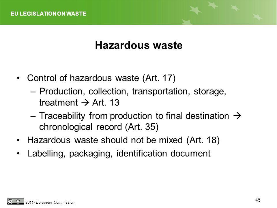 EU LEGISLATION ON WASTE 2011- European Commission Hazardous waste Control of hazardous waste (Art. 17) –Production, collection, transportation, storag