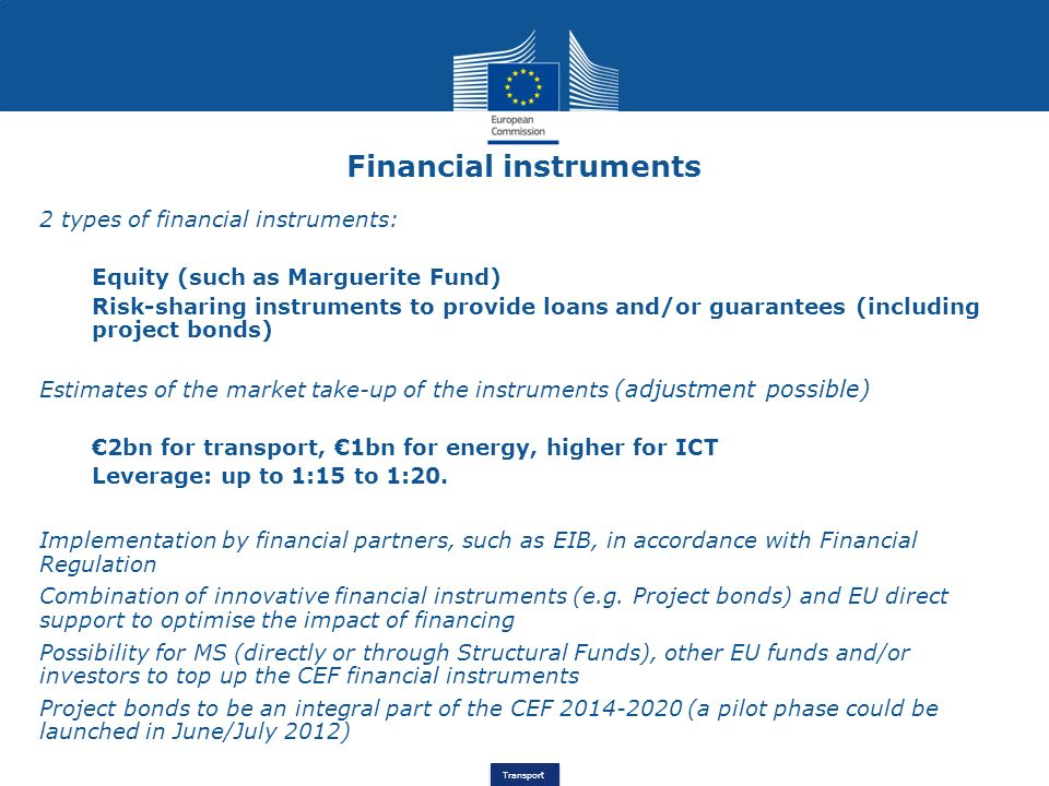 Transport Financial instruments 2 types of financial instruments: Equity (such as Marguerite Fund) Risk-sharing instruments to provide loans and/or gu