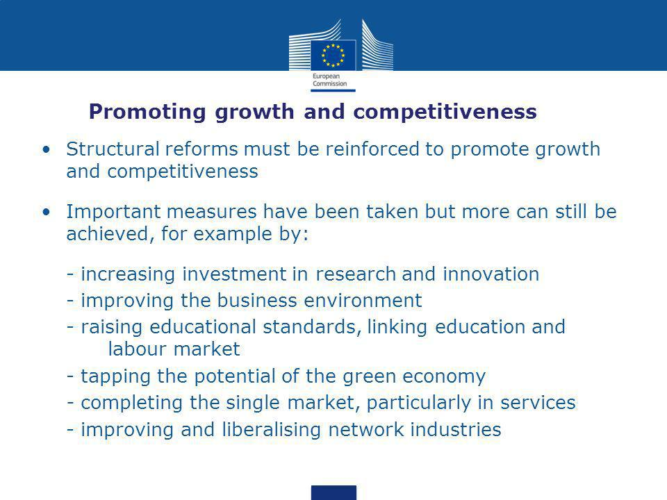 Promoting growth and competitiveness Structural reforms must be reinforced to promote growth and competitiveness Important measures have been taken but more can still be achieved, for example by: - increasing investment in research and innovation - improving the business environment - raising educational standards, linking education and labour market - tapping the potential of the green economy - completing the single market, particularly in services - improving and liberalising network industries