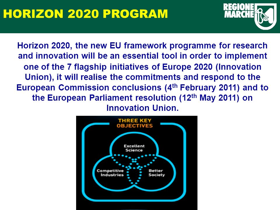 HORIZON 2020 PROGRAM Horizon 2020, the new EU framework programme for research and innovation will be an essential tool in order to implement one of the 7 flagship initiatives of Europe 2020 (Innovation Union), it will realise the commitments and respond to the European Commission conclusions (4 th February 2011) and to the European Parliament resolution (12 th May 2011) on Innovation Union.