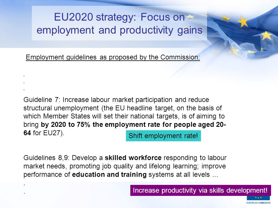 13 EU2020 strategy: Focus on employment and productivity gains.