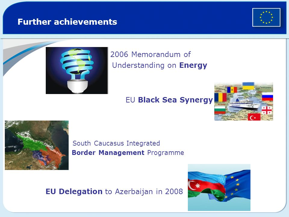 Further achievements 2006 Memorandum of Understanding on Energy EU Black Sea Synergy South Caucasus Integrated Border Management Programme EU Delegation to Azerbaijan in 2008