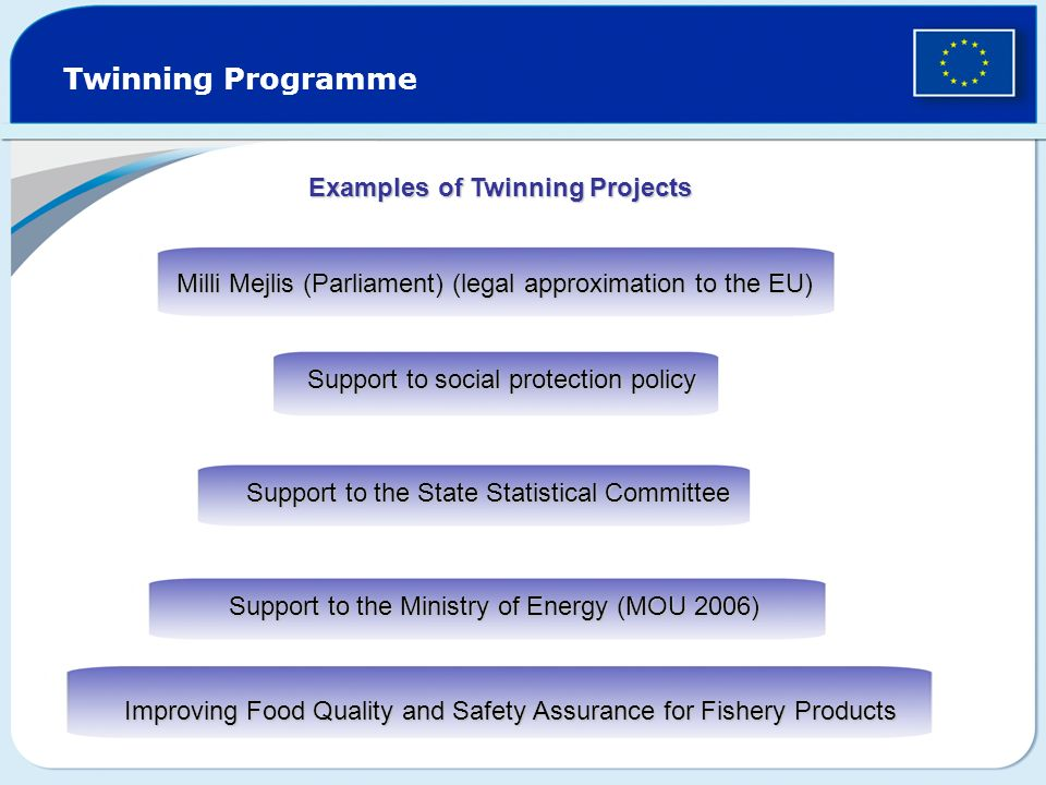 Twinning Programme Examples of Twinning Projects Milli Mejlis (Parliament) (legal approximation to the EU) Support to social protection policy Support to the State Statistical Committee Support to the Ministry of Energy (MOU 2006) Improving Food Quality and Safety Assurance for Fishery Products