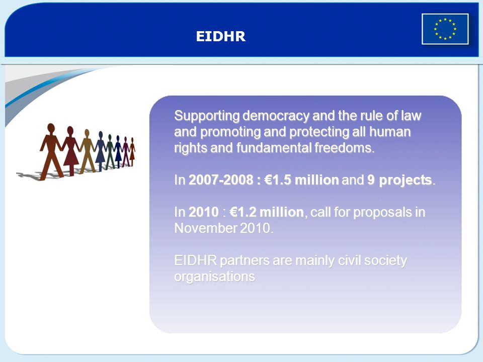 EIDHR Supporting democracy and the rule of law and promoting and protecting all human rights and fundamental freedoms.