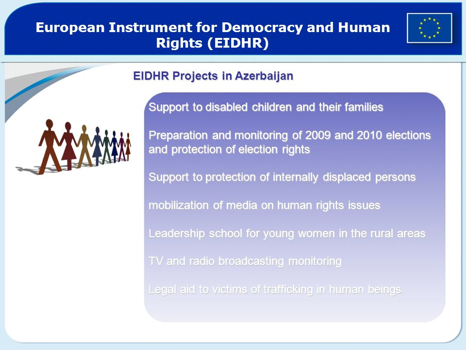 European Instrument for Democracy and Human Rights (EIDHR) Support to disabled children and their families Preparation and monitoring of 2009 and 2010 elections and protection of election rights Support to protection of internally displaced persons mobilization of media on human rights issues Leadership school for young women in the rural areas TV and radio broadcasting monitoring Legal aid to victims of trafficking in human beings EIDHR Projects in Azerbaijan