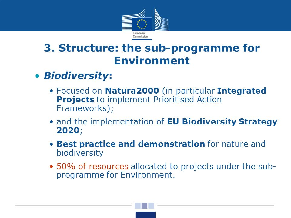3. Structure: the sub-programme for Environment Biodiversity: Focused on Natura2000 (in particular Integrated Projects to implement Prioritised Action