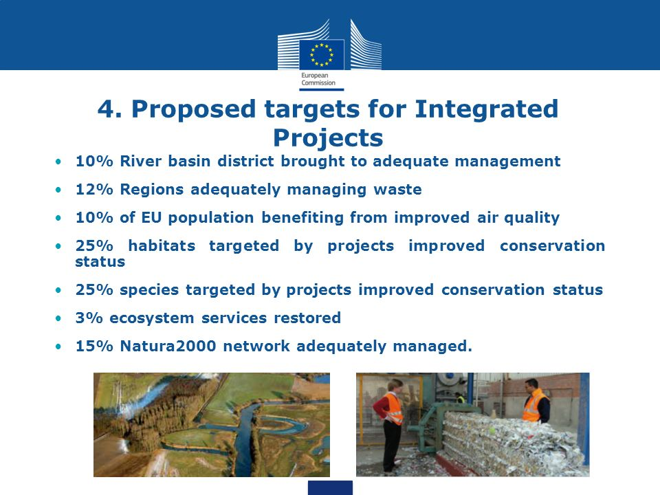 4. Proposed targets for Integrated Projects 10% River basin district brought to adequate management 12% Regions adequately managing waste 10% of EU po