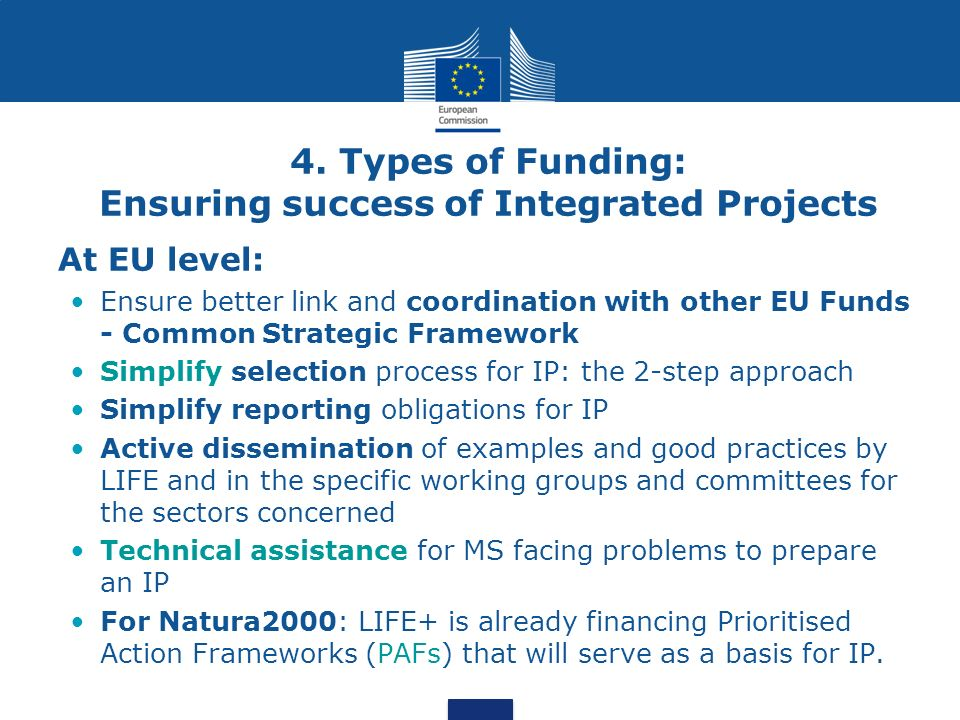 4. Types of Funding: Ensuring success of Integrated Projects At EU level: Ensure better link and coordination with other EU Funds - Common Strategic F
