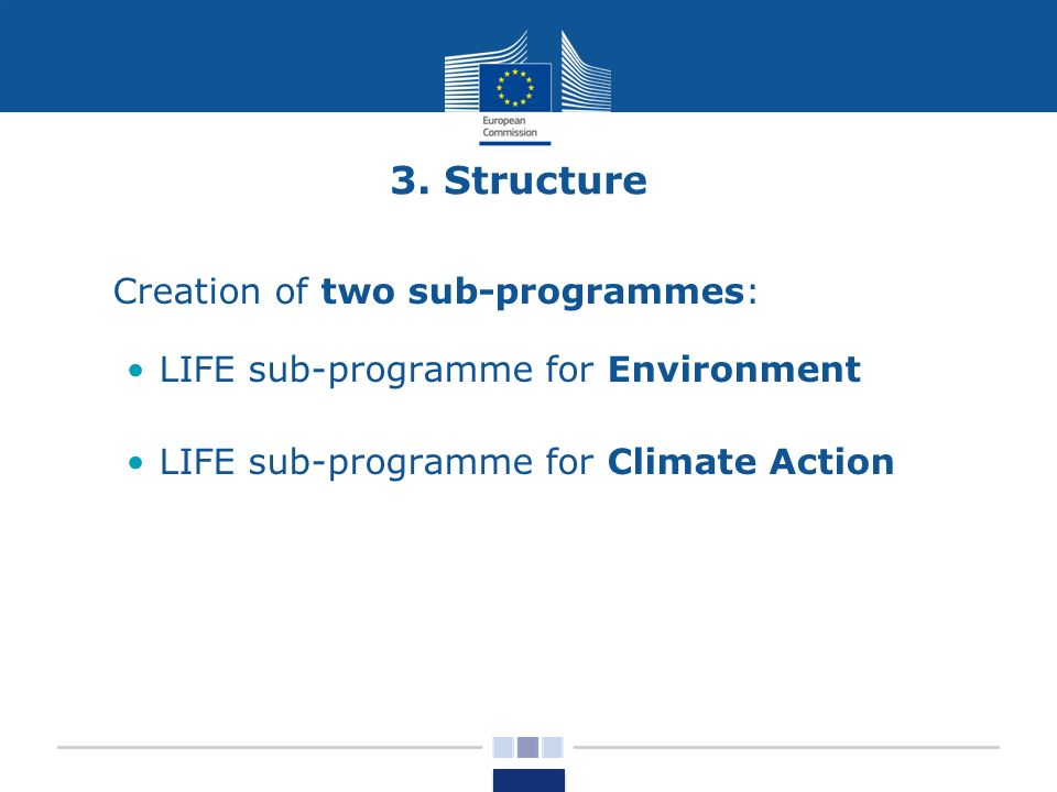 3. Structure Creation of two sub-programmes: LIFE sub-programme for Environment LIFE sub-programme for Climate Action