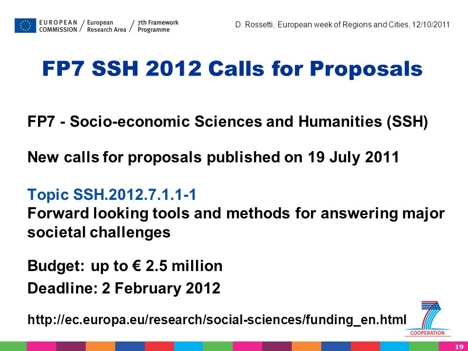 19 D. Rossetti, European week of Regions and Cities, 12/10/2011 FP7 - Socio-economic Sciences and Humanities (SSH) New calls for proposals published o