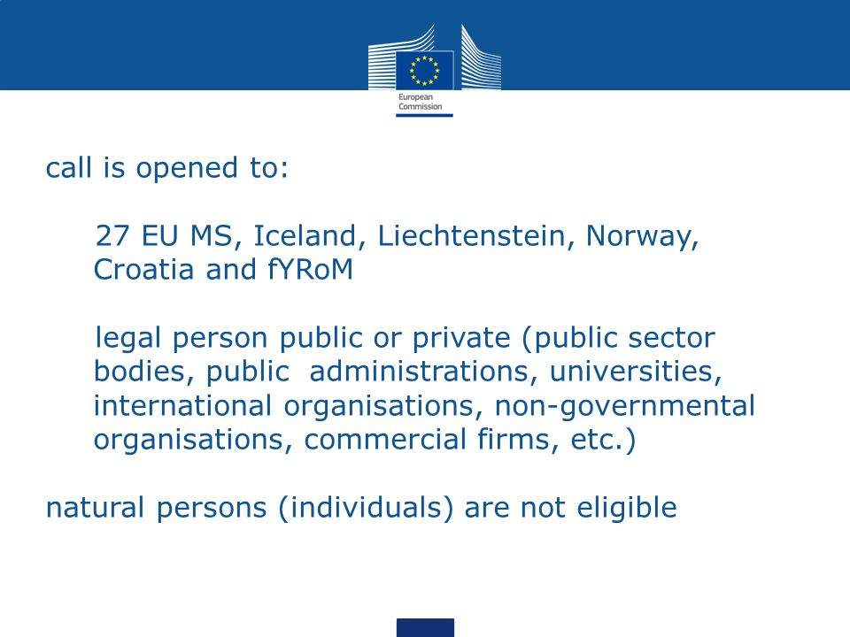 call is opened to: 27 EU MS, Iceland, Liechtenstein, Norway, Croatia and fYRoM legal person public or private (public sector bodies, public administra