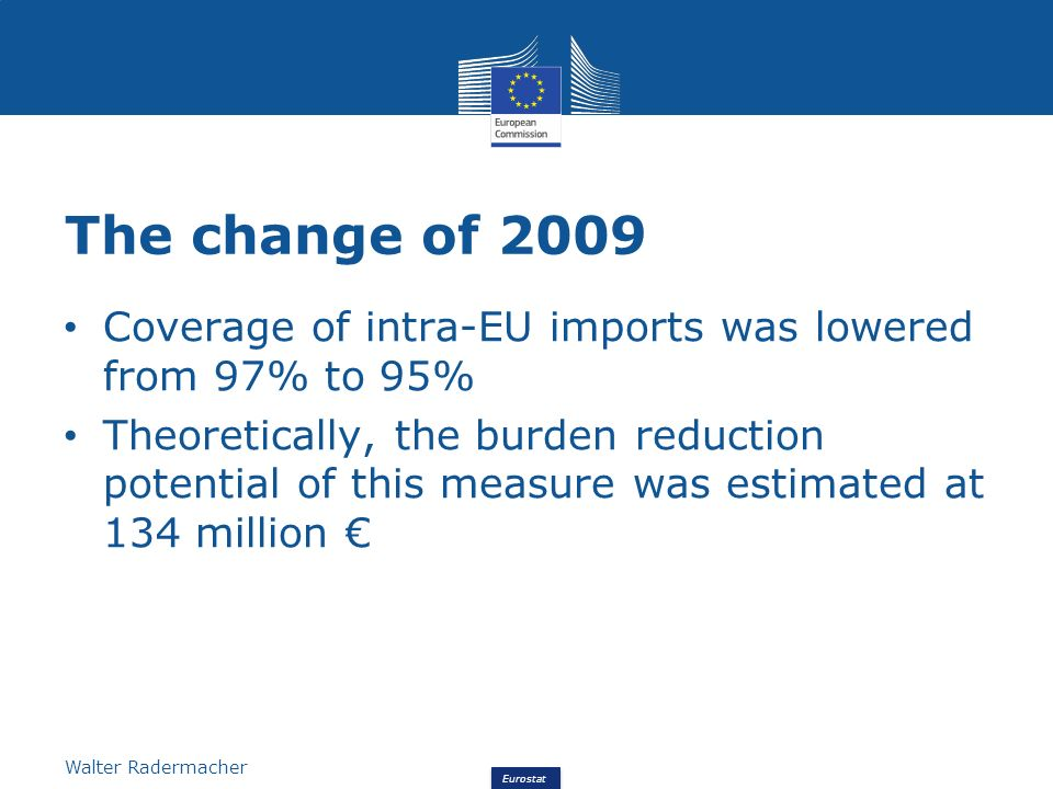Eurostat Walter Radermacher The change of 2009 – the figures From the latest figures Eurostat estimated the realised burden reduction The burden reduction achieved was 61.1 million The full reduction was not achieved because (i) some Member States combine Intrastat with VAT reporting (FR, IT), (ii) for some strategic goods, a higher coverage was chosen