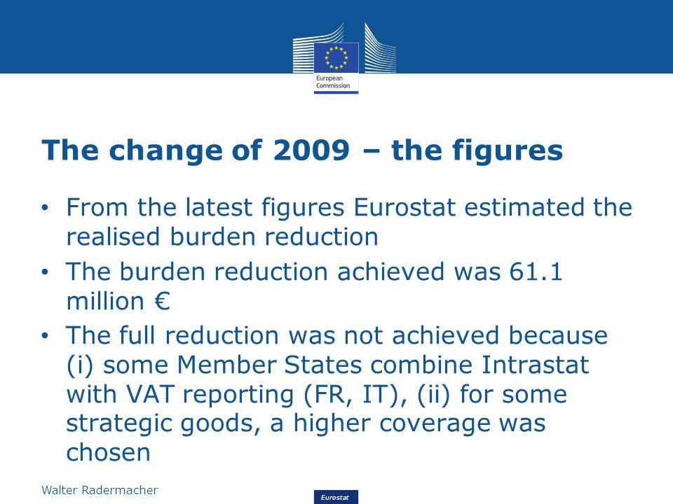 Eurostat Walter Radermacher Thank you for your attention