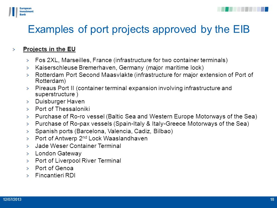 12/07/201318 Examples of port projects approved by the EIB Projects in the EU Fos 2XL, Marseilles, France (infrastructure for two container terminals) Kaiserschleuse Bremerhaven, Germany (major maritime lock) Rotterdam Port Second Maasvlakte (infrastructure for major extension of Port of Rotterdam) Pireaus Port II (container terminal expansion involving infrastructure and superstructure ) Duisburger Haven Port of Thessaloniki Purchase of Ro-ro vessel (Baltic Sea and Western Europe Motorways of the Sea) Purchase of Ro-pax vessels (Spain-Italy & Italy-Greece Motorways of the Sea) Spanish ports (Barcelona, Valencia, Cadiz, Bilbao) Port of Antwerp 2 nd Lock Waaslandhaven Jade Weser Container Terminal London Gateway Port of Liverpool River Terminal Port of Genoa Fincantieri RDI