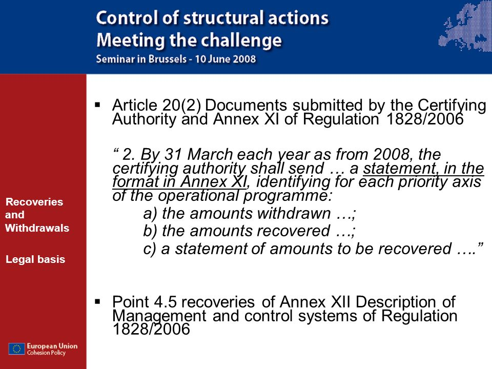 Article 20(2) Documents submitted by the Certifying Authority and Annex XI of Regulation 1828/2006 2.