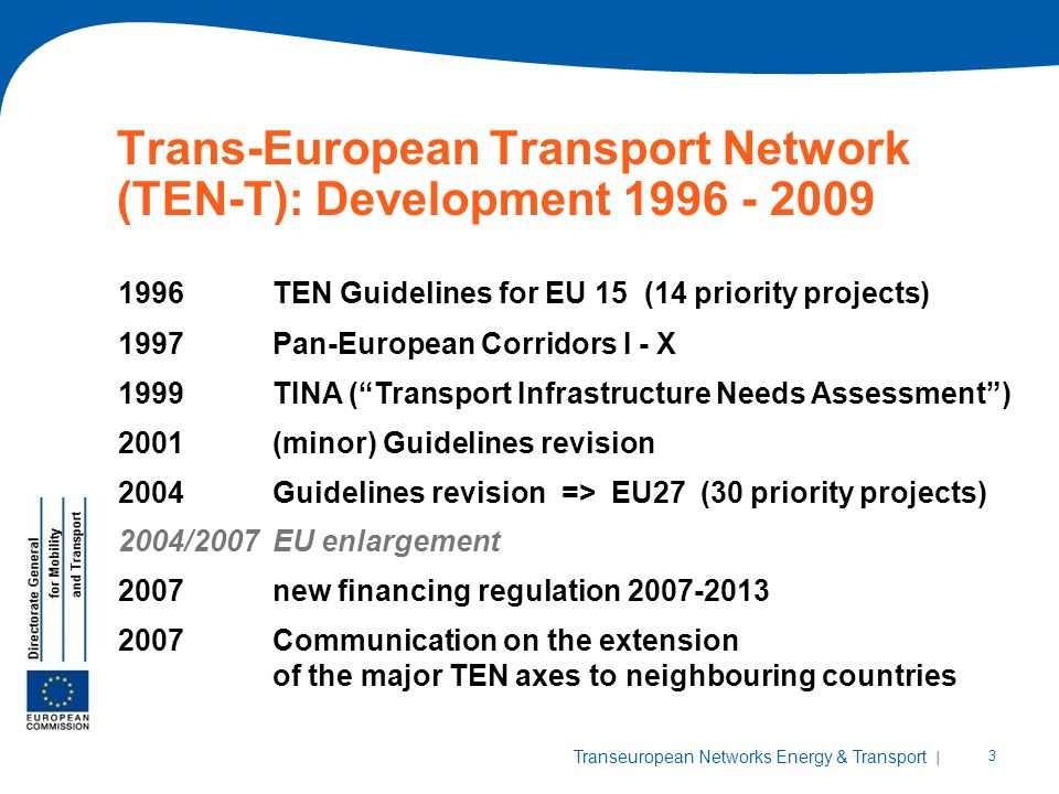 | 3 Transeuropean Networks Energy & Transport Trans-European Transport Network (TEN-T): Development TEN Guidelines for EU 15 (14 priority projects) 1997Pan-European Corridors I - X 1999TINA (Transport Infrastructure Needs Assessment) 2001(minor) Guidelines revision 2004Guidelines revision => EU27 (30 priority projects) 2004/2007EU enlargement 2007new financing regulation Communication on the extension of the major TEN axes to neighbouring countries