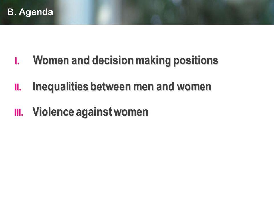 II. Inequalities between men and women I. Women and decision making positions III. Violence against women