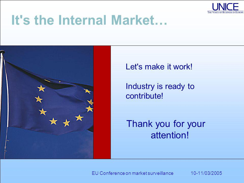 EU Conference on market surveillance 10-11/03/2005 It s the Internal Market… Let s make it work.