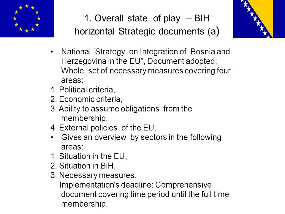 1. Overall state of play – BIH horizontal Strategic documents (a ) National Strategy on Integration of Bosnia and Herzegovina in the EU, Document adop