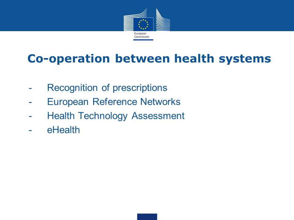 Co-operation between health systems - Recognition of prescriptions -European Reference Networks - Health Technology Assessment - eHealth